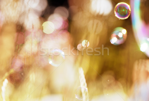 Bulles de savon vert ciel lumière fond Photo stock © konradbak