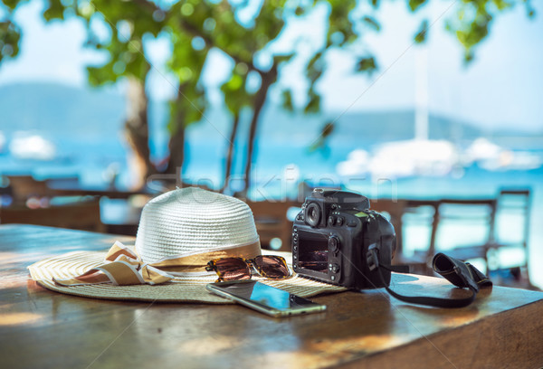 Summer holiday, vacation accessories - tropical area Stock photo © konradbak