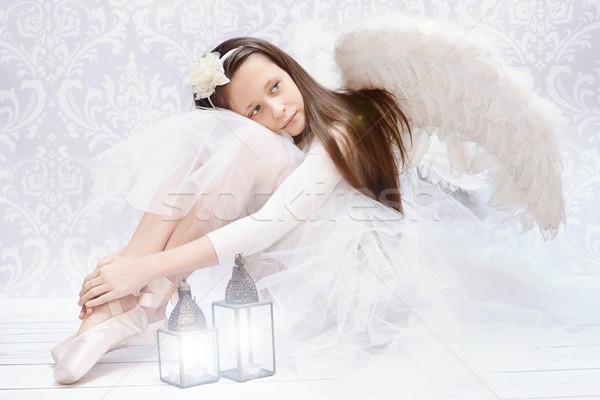 Glad ballet dancer after performarnce Stock photo © konradbak