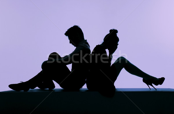 Stock photo: Picture presenting the arguing couple