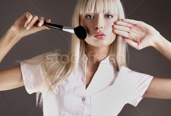 小さな ブロンド 適用 顔 女性 ストックフォト © konradbak