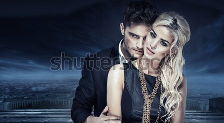 Emotive portrait of a young couple Stock photo © konradbak