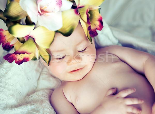 ストックフォト: 寝 · 赤ちゃん · 目 · 楽しい · 少年 · クリーン