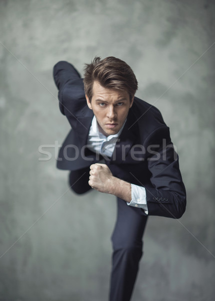 Conceptual photo of handsome businessman starting his career Stock photo © konradbak
