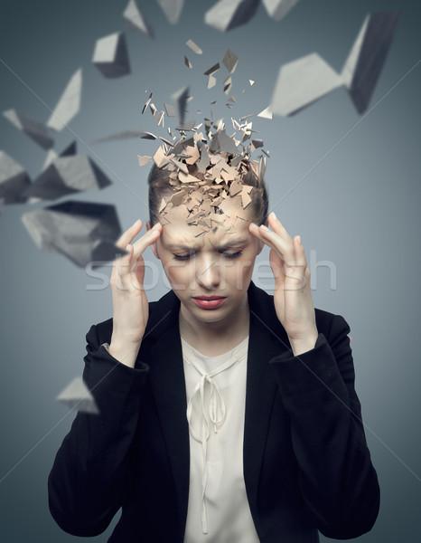Vonzó üzletember hatalmas migrén okos egészség Stock fotó © konradbak