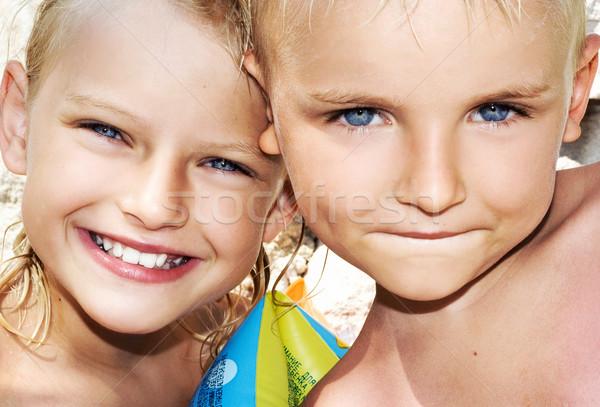 Young boy and child on sunny vacation day Stock photo © konradbak