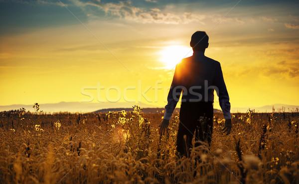 Stock fotó: Higgadt · üzletember · sétál · napfelkelte · menedzser · üzlet