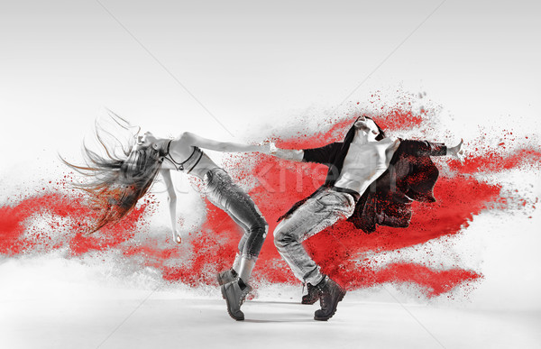 Blac&white portrait of talented hip hop dancers Stock photo © konradbak