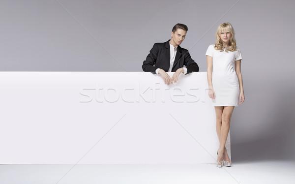 Félénk fickó barátnő férfi üzlet pár Stock fotó © konradbak