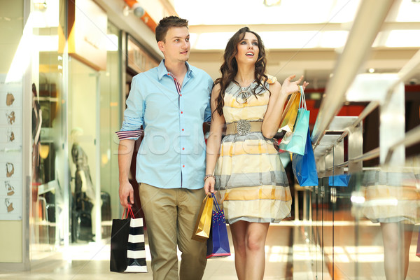 Stock fotó: Pár · fiatalok · vásárlás · központ · divat · sétál