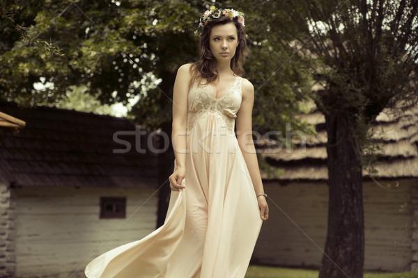 Sexy young woman with colorful hat Stock photo © konradbak