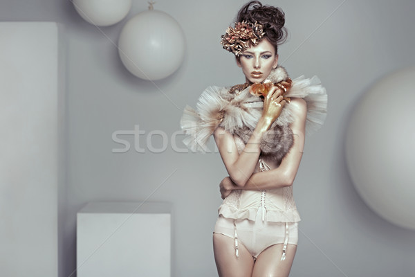 Glamour style photo of alluring lady Stock photo © konradbak