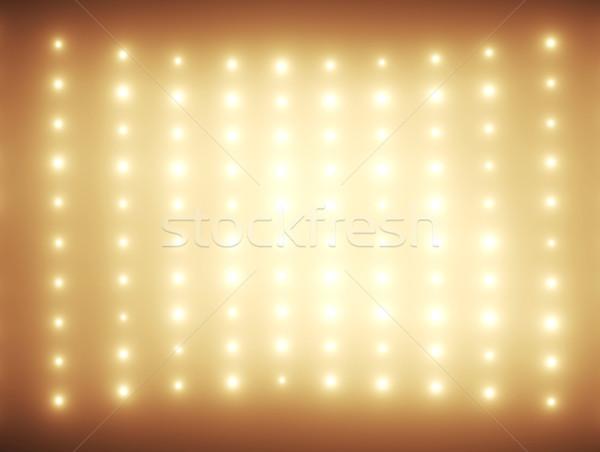 Hundreds light bulbs in orange tone Stock photo © konradbak