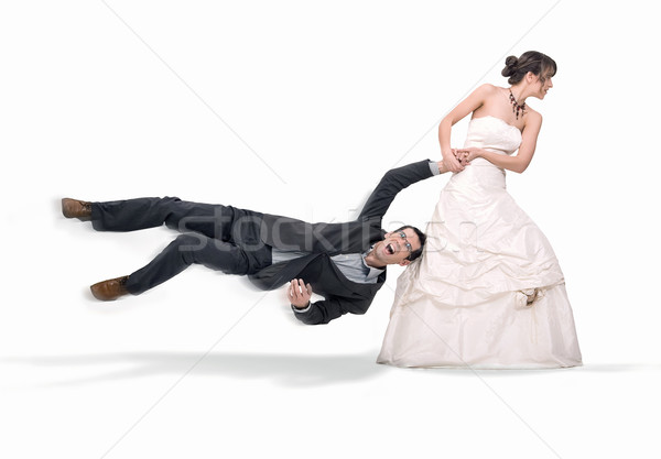 Menyasszony vőlegény izolált fehér esküvő fut Stock fotó © konradbak