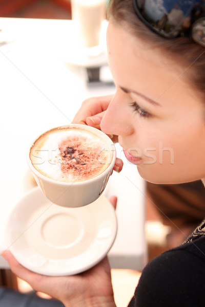 昼休み 女性 コーヒー チョコレート ケーキ 夏 ストックフォト © konradbak