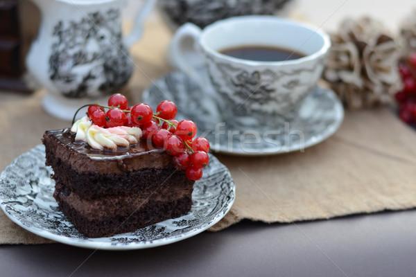 Chocolat fruits frais servi tasse café Photo stock © konradbak