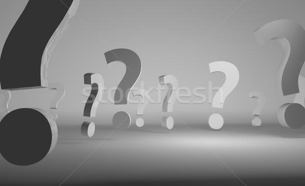 Foto presenteren vraagtekens grijs abstract achtergrond Stockfoto © konradbak