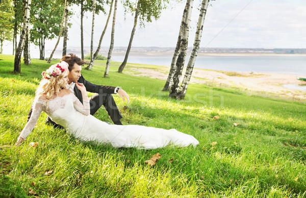 Paar huwelijksreis bruiloft man sexy gelukkig Stockfoto © konradbak