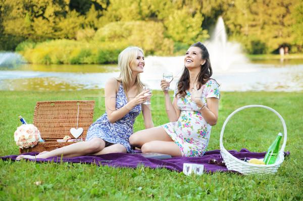 Keyifli öğleden sonra park güneşli gıda mutlu Stok fotoğraf © konradbak