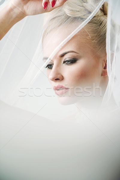 Ziemlich blond Frau tragen Licht Schleier Stock foto © konradbak