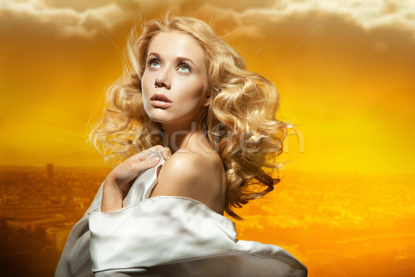 Portrait belle sexy jeune femme femme soleil Photo stock © konradbak