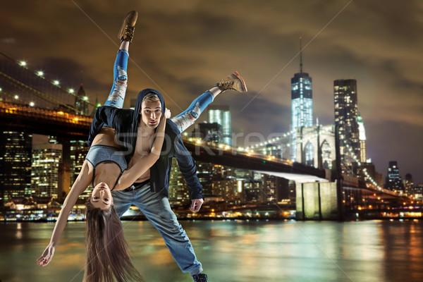 Jovem hip hop casal dança urbano textura Foto stock © konradbak