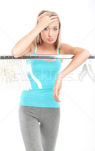 Jonge mooie triest vrouw niets mode Stockfoto © konradbak