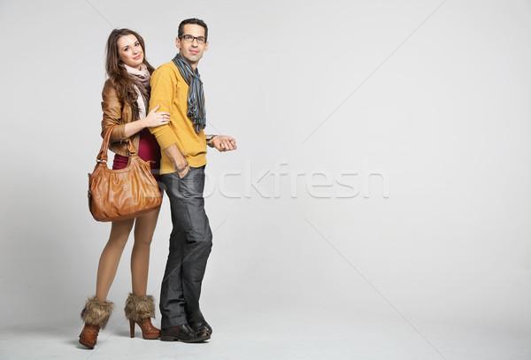 элегантный пару осень моде человека студию Сток-фото © konradbak