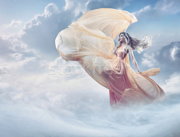 Stockfoto: Fairy · afbeelding · mooie · jonge · dame · wolken