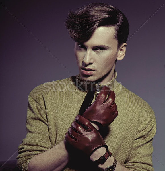 Foto d'archivio: Moda · foto · shot · uomo · indossare · guanti