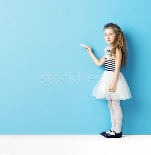 ストックフォト: かなり · 少女 · 書く · チョーク · 女性