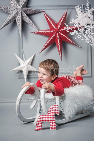 Kid Natale slitta slitta Foto d'archivio © konradbak