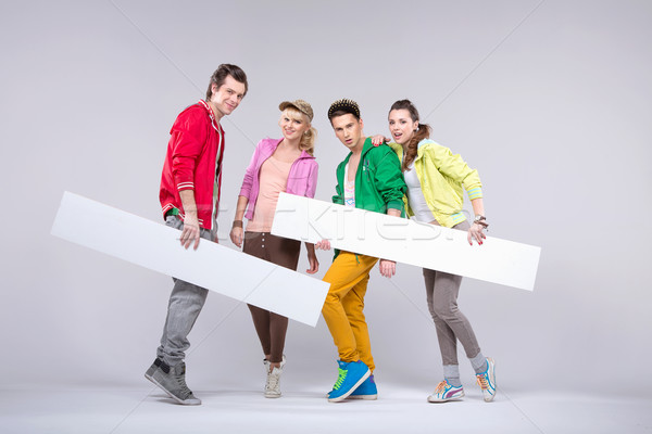 Group of teenagers in loose pose Stock photo © konradbak