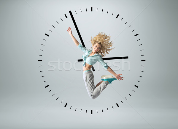 Fotografia ludzi zegar zdjęcie kobieta dziewczyna Zdjęcia stock © konradbak