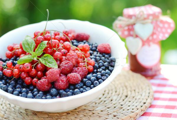 Fresh home grown fruits in the white bowl Stock photo © konradbak