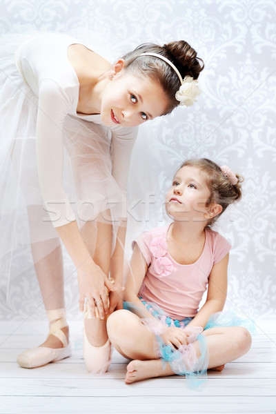Two sisters practising ballet dance Stock photo © konradbak