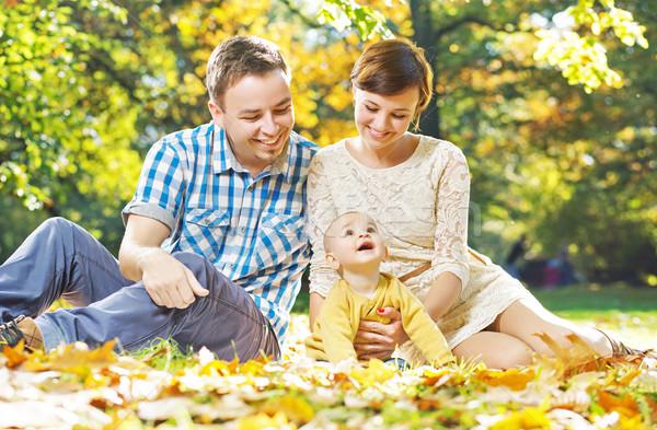 örvend szülők baba aranyos nő mosoly Stock fotó © konradbak
