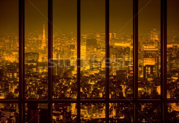 Noite cidade amarelo cidade céu escritório Foto stock © konradbak