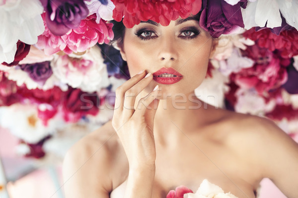 Closeup portrait of a flower nymph Stock photo © konradbak