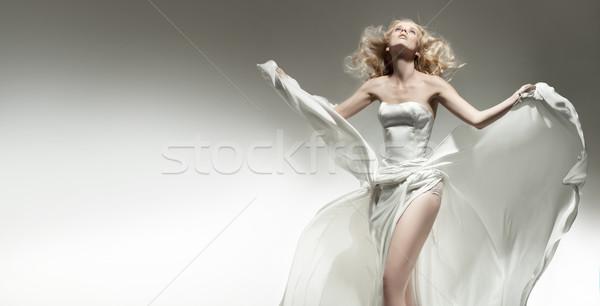 Gyönyörű szexi fiatal nő visel fehér ruha nő Stock fotó © konradbak