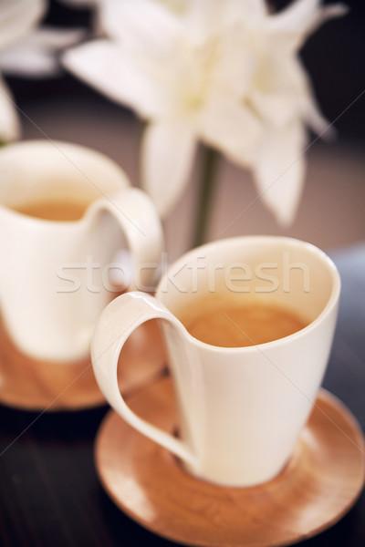 Two lovely cups of cappuccino Stock photo © konradbak