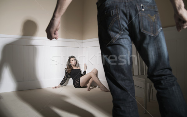 Scene of man and woman expressing domestic violence Stock photo © konradbak