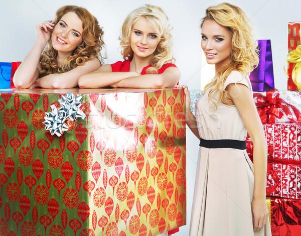 Karácsony hangulat portré három nők hölgyek Stock fotó © konradbak