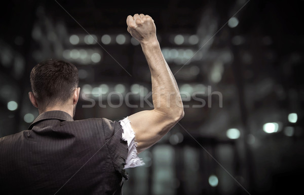 Exhausted businessman beating the barrier Stock photo © konradbak