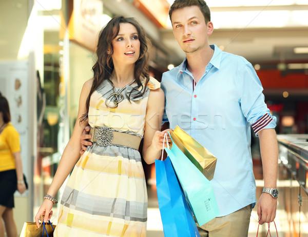 Fiatal pér szórakozás vásárlás központ divat háttér Stock fotó © konradbak