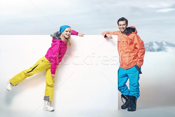 Cute blonde woman with her attractive boyfriend Stock photo © konradbak