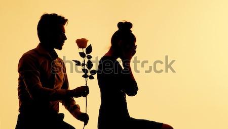 Kobieta zdziwiony wniosek pani kwiat Zdjęcia stock © konradbak