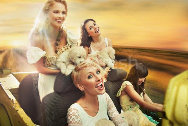 Smiling women driving a car Stock photo © konradbak