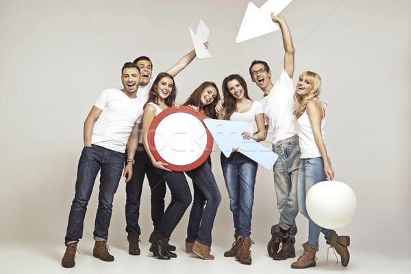 Nevet csoport jó hangulat legjobb hangulat nő Stock fotó © konradbak