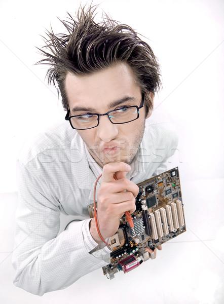 Loco técnico trabajo tecnología hombres Foto stock © konradbak